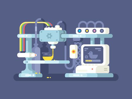 prototype: 3d printing device flat design. Technology manufacturing and prototype. Vector illustration
