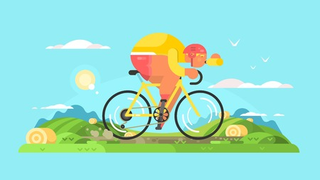 sportsmen: Cyclist sportsman on bike. Sport bicycle, man biking travel, vector illustration
