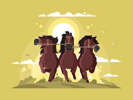 Three horses running. Stallion team run gallop, nature strong and free animal. Vector illustration