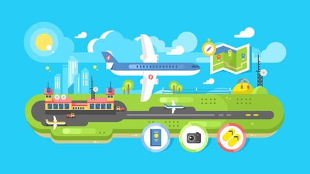 passenger: Airport building infrastructure. Travel air transport, terminal passenger, vector illustration