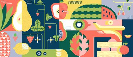 Fruit achtergrond abstract. Eten vers en zoet, gezonde vitamine grafisch, vector illustratie