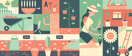 gardening: Gardening flat background. Flower nature and plant green, vector illustration