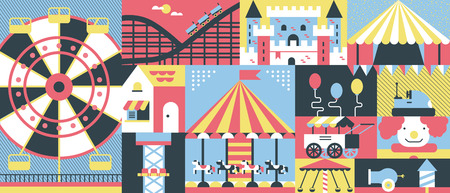 amusement park background: Amusement park background flat. Park amusement and carnival entertainment with carousel, vector illustration