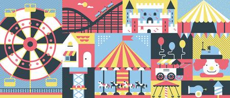 Amusement park background flat. Park amusement and carnival entertainment with carousel, vector illustration