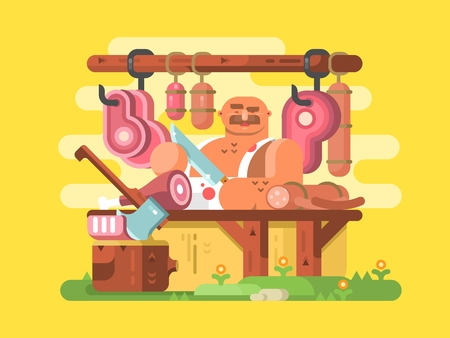 raw beef: Butcher cuts meat. Fresh and raw beef, work butchery profession person. Vector illustration Illustration