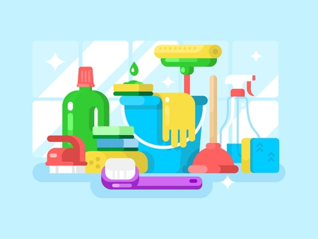 dusting: Cleaning tools and detergent. Sponge and spray, housework and sanitary. Vector illustration