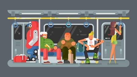 Metro con la gente diseño plano. Transporte de metro tren y el transporte público en la ciudad, ilustración vectorial