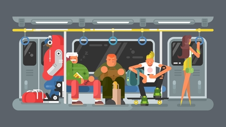 Subway with people flat design. Transportation train metro and city transport public, vector illustration