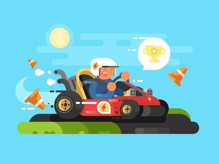 karting: Riding a karting design flat. Drive speed sport, fast race track. Vector illustration