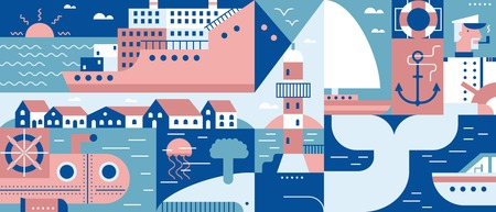 sea transport: Sea lifestyle port and city background. Ship in ocean, transport vessel cruise, vector illustration