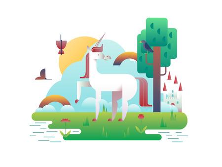 a legend of magic: Unicorn animal in nature. Cartoon horse wild fantasy, stallion magic legend, vector illustration Illustration