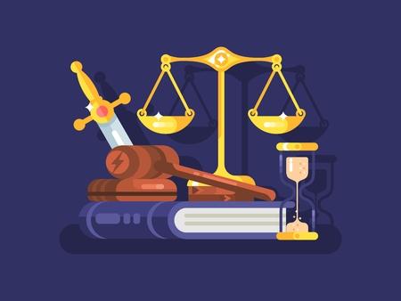 En justitie concept. Juridische justitie en hamer wetgeving gezag