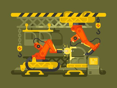 automatic: Automatic production using robotics. Production factory automation equipment