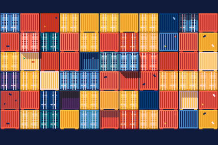 front loading: Containers background flat. Industrial cargo transportation, export commercial business illustration