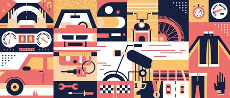 moto: Auto and moto background. Transport speed bike sport illustration