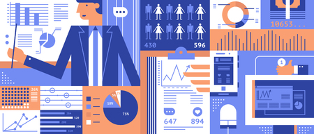 statistic: Statistic business flat background. Infographic information, analytics diagram info illustration