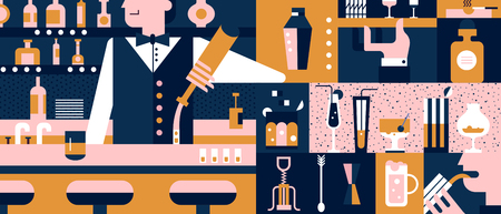 barkeeper: Bar and bartender background flat. Beverage in pub, glass beer and nightclub barman illustration