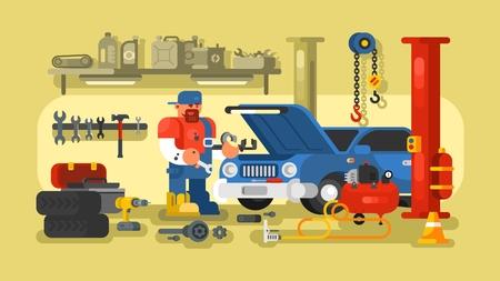 car repair shop: Auto mechanic fixing car in auto repair garage flat illustration