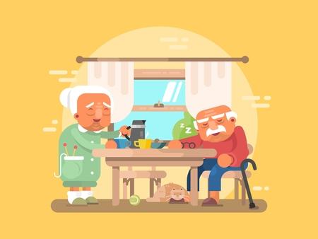 cocina antigua: Los abuelos plana desayuno. El abuelo y la abuela carácter ancianos ilustración Vectores