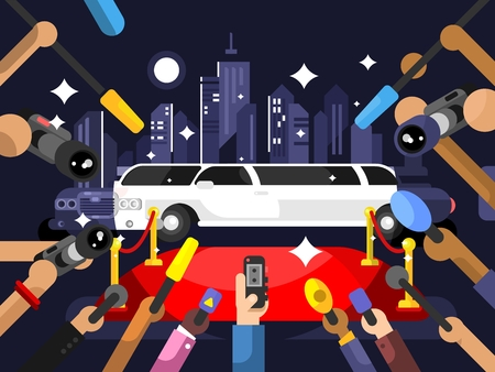 red carpet event: Limousine and red carpet. Luxury car and event entertainment night illustration