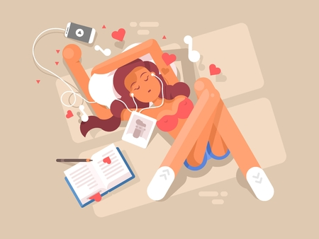 listening: Young girl listens to music in headphone, woman lying and relax illustration