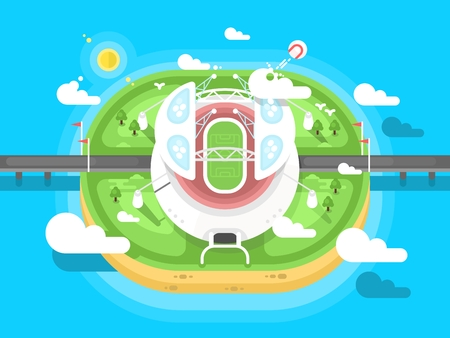 Stadium flat design. Sport football or soccer, design building for competition
