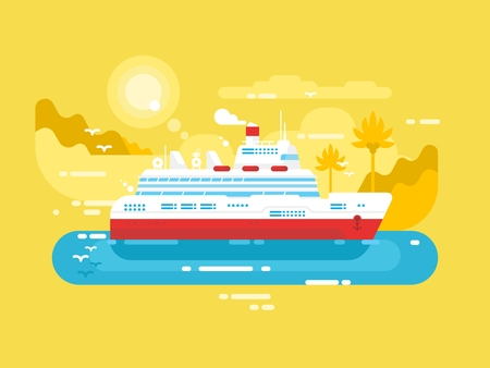 cruise travel: Cruise ship design flat. Marine travel passenger liner, illustration