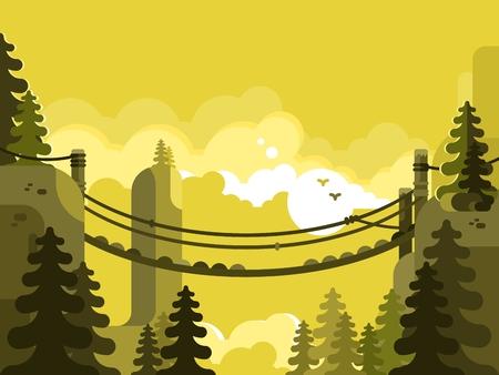 suspenso: Puente de suspensión plana de diseño. parque de la naturaleza, la aventura y los viajes, ilustración vectorial
