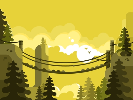 footbridge: Suspension bridge design flat. Nature park, adventure and travel, vector illustration Illustration