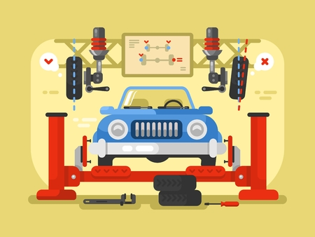 Suspension car design flat. Auto repair service, station maintenance and automotive diagnostic, vector illustration Reklamní fotografie - 58230769