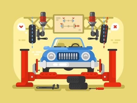diagnostic: Suspension car design flat. Auto repair service, station maintenance and automotive diagnostic, vector illustration