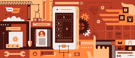web development: Web design for mobile phone. Modern technology for website, tablet and development, illustration