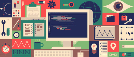 web development: Web programming design flat concept. Technology development, workflow and workspace. illustration