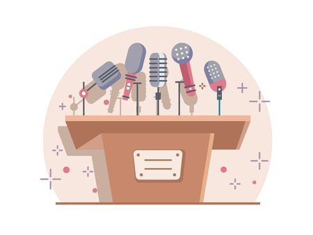 grandstand: Tribune with microphones. Conference and debate, podium for presentation, tribune for seminar, flat illustration Illustration