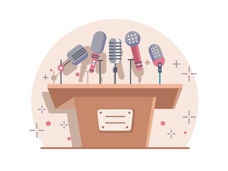 tribune: Tribune with microphones. Conference and debate, podium for presentation, tribune for seminar, flat illustration Illustration