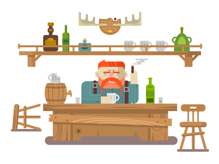 stern: Interior of the bar. Stern man and alcohol beer, tavern or pub, flat illustration