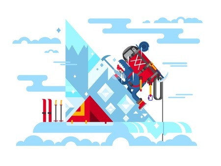 conquers: Climber conquers the summit. Mountain and adventure, climbing and challenge, brave and courage, extreme and risk, illustration