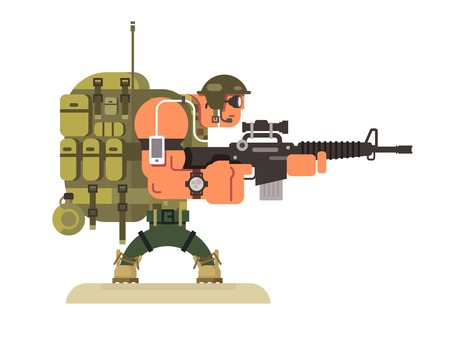 mantenimiento de la paz militar carácter. Soldado del ejército y la guerra, arma y uniforme, ilustración plana