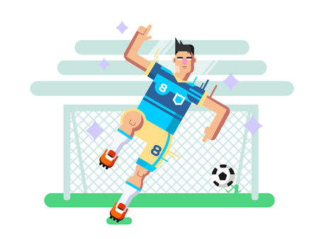 team game: Soccer player. Sport football, team game, goal and competition, character man play. Flat illustration