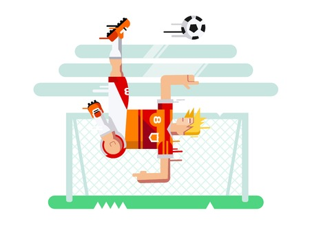 team game: Soccer player in a jump. Sport football, team game, goal and competition, character man play. Flat illustration