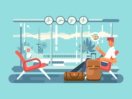 departure: Waiting at airport of departure. Travel and terminal airport, transportation flight, illustration