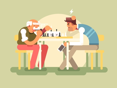 serious: People play chess. Game lifestyle and competition playing, illustration Illustration