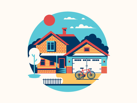 residential home: House icon isolated flat. Home building and residential architecture, illustration Illustration