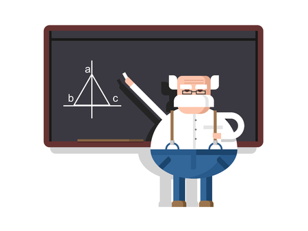 intelligent: Lecture by professor. Scientist intelligent, educator and pedagogue, flat illustration