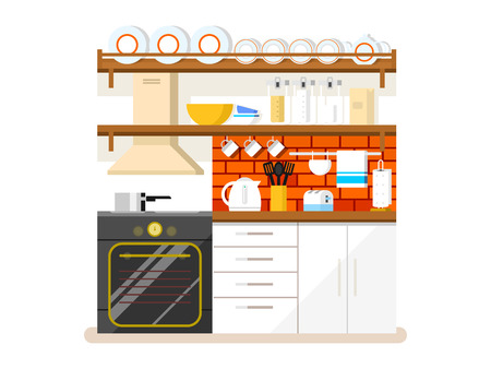 Kitchen flat style. Furniture and refrigerator, toaster and plate, hood and pan, flat illustration Ilustracja