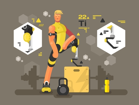 amputee: Sport prostheses design flat. Athlete disability and challenge activity, illustration