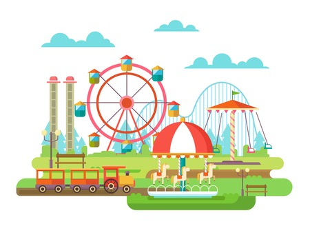 banc parc: Parc d'attractions. Surfant sur le carrousel, des vacances en famille. illustration plat Illustration