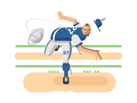 game boy: Baseball player character. Sport game, boy play, athlete in cap, flat illustration