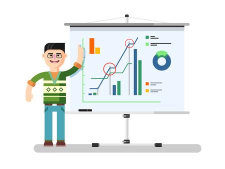 El analista financiero muestra el informe. Diagrama de las finanzas, los negocios informe, la tabla de crecimiento, la estadística de mercado, ilustración plana