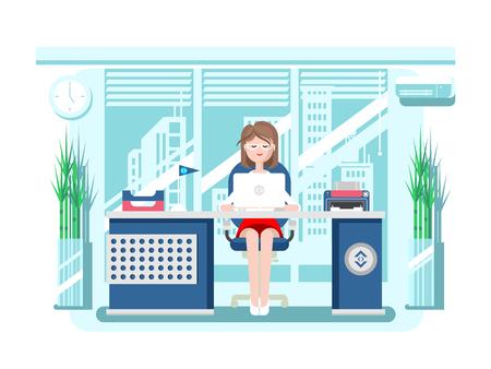 Secretaria en la oficina. persona de negocios, la mujer del trabajador, trabajo y trabajo, hembra joven, ilustración plana
